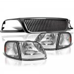 1999 Ford F150 Black Grille Clear Headlights Set