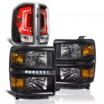 2015 Chevy Silverado 1500 Black DRL Headlights Custom LED Tail Lights