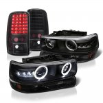 2005 Chevy Suburban Black Halo Projector Headlights LED Tail Lights