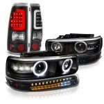 2002 Chevy Silverado Black Halo Projector Headlights LED Bumper Tube Tail Lights