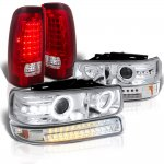 2000 Chevy Silverado Halo Projector Headlights LED Bumper Tail Lights