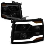 Chevy Silverado 3500HD 2007-2014 Black Smoked Facelift DRL Projector Headlights
