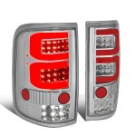 2005 Ford F150 Clear Custom Red Tube LED Tail Lights