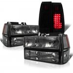 GMC Suburban 1994-1999 Smoked Headlights and Black Smoked LED Tail Lights
