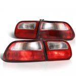 Honda Civic Hatchback 1992-1995 Red and Clear JDM Tail Lights