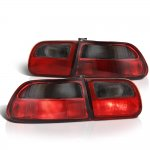 1993 Honda Civic Hatchback Red and Smoked JDM Tail Lights