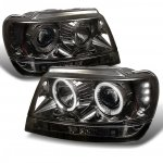 2004 Jeep Grand Cherokee Smoked Dual Halo Projector Headlights with LED