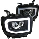 2014 GMC Sierra 1500 Black LED Tube DRL Projector Headlights