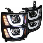 Chevy Silverado 2014-2015 Black DRL Projector Headlights LED Signal