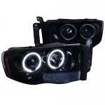 Dodge Ram 3500 2003-2005 Smoked Halo Projector Headlights with LED