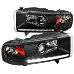 Dodge Ram 2500 1994-2002 Black Retrofit Projector Headlights LED DRL