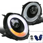 Mini Cooper 2007-2012 Black LED DRL Projector Headlights