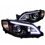 Subaru WRX 2008-2014 Smoked LED DRL Projector Headlights