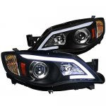 Subaru WRX 2008-2014 Black LED DRL Projector Headlights