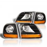 1999 Ford F150 Black Harley Headlights Set