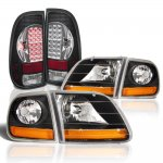 Ford F150 1997-2003 Black Harley Headlights Black Chrome LED Tail Lights