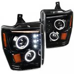 Ford F350 Super Duty 2008-2010 Glossy Black Halo Projector Headlights with LED