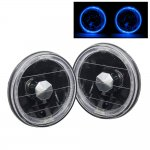 1969 Ford Mustang Blue Halo Black Sealed Beam Headlight Conversion High Beams
