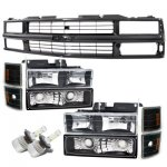 1998 Chevy 3500 Pickup Black Grille and LED Headlights Conversion Kit
