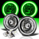Jeep CJ7 1976-1986 Green Halo Tube Black Chrome LED Headlights Kit