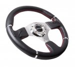 NRG Steering Wheel RST-008R 350MM Leather Flat Carbon Thumb Rests