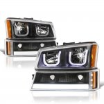 Chevy Silverado 3500 2003-2006 Black LED DRL Headlights Tube Bumper Lights