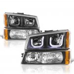 Chevy Silverado 1500HD 2003-2006 Black LED DRL Headlights Bumper Lights