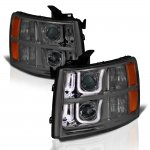 Chevy Silverado 3500HD 2007-2014 Smoked LED DRL Projector Headlights