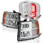 Chevy Silverado 2500HD 2007-2014 Clear Custom DRL Projector Headlights LED Tail Lights