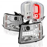 Chevy Silverado 2007-2013 Clear Facelift DRL Projector Headlights Custom LED Tail Lights