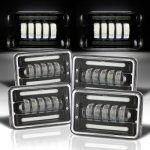 Dodge Ramcharger 1979-1980 Black DRL LED Headlights Conversion Low and High Beams