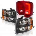 2013 Chevy Silverado 2500HD Black Headlights and Red Custom LED Tail Lights