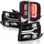 Chevy Silverado 2007-2013 Black Facelift DRL Projector Headlights Custom LED Tail Lights Red Tube