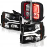 2008 Chevy Silverado Black Tube DRL Projector Headlights Custom LED Tail Lights Red Tube