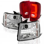 2007 Chevy Silverado 2500HD Facelift DRL Projector Headlights Custom LED Tail Lights