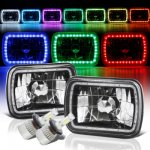Jeep Grand Wagoneer 1987-1991 Color SMD Halo Black Chrome LED Headlights Kit Remote