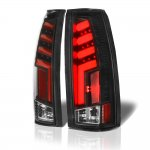 GMC Sierra 3500 1988-1998 Black Red Tube LED Tail Lights