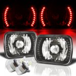 Dodge Ram 50 1981-1993 Red LED Black Chrome LED Headlights Kit
