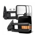 Chevy Silverado 2007-2013 Glossy Black Towing Mirrors LED Signal Lights Power Heated