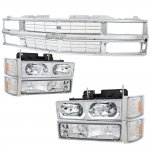 1990 Chevy 3500 Pickup Chrome Grille and LED DRL Headlights Set