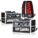 Chevy 2500 Pickup 1994-1998 Black LED DRL Headlights Custom Tube LED Tail Lights