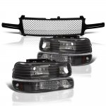 2002 Chevy Silverado Black Mesh Grille and Headlights Set