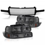 2002 Chevy Silverado Black Mesh Grille and Smoked Headlights Set