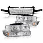 Chevy Silverado 1999-2002 Black Mesh Grille and Clear Headlights Set