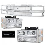 1993 Chevy 1500 Pickup Chrome Grille and LED DRL Headlights Set
