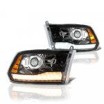 Dodge Ram 3500 2010-2018 Glossy Black Projector Headlights Switchback LED DRL Signal Lights