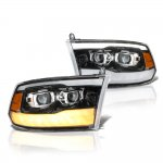 Dodge Ram 2009-2018 Glossy Black DRL Projector Headlights LED Signal Lights