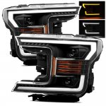 Ford F150 2018-2020 AlphaRex Black Projector Headlights Switchback LED DRL Signal Lights