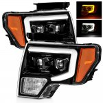 Ford F150 2009-2014 Glossy Black Projector Headlights Switchback LED DRL Signal Lights