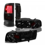 Dodge Ram 1994-2001 Smoked Headlights Black Tinted LED Tail Lights